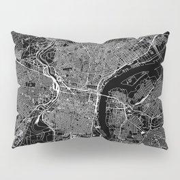Philadelphia Black Map Pillow Sham