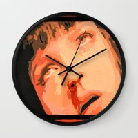 mia wallace Wall Clocks featuring Mia Wallace by yayanastasia