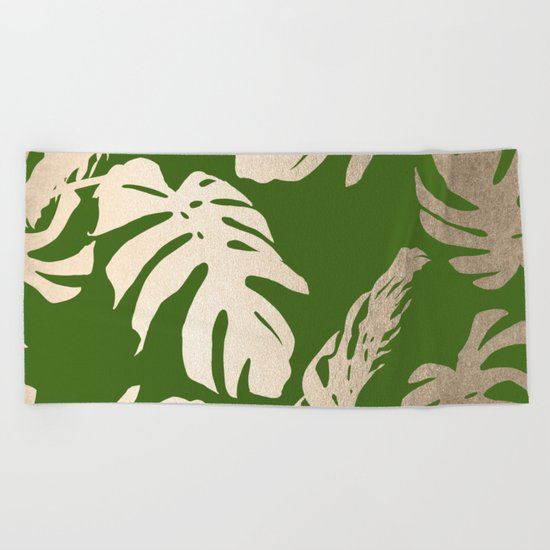 Palm Leaves White Gold Sands on Jungle Green Beach Towel