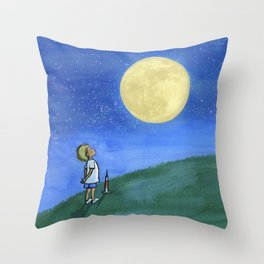 Little Boy and The Man in the Moon Throw Pillow