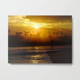 Misty Sunrise * Huntington Beach, California Metal Print
