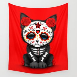Cute Red Day of the Dead Kitten Cat Wall Tapestry