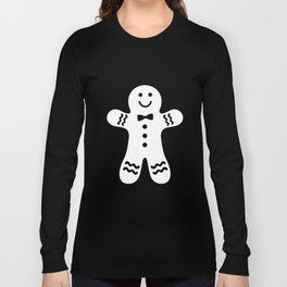 Gingerbread Man (black & white), simple, bold design Long Sleeve T-shirt