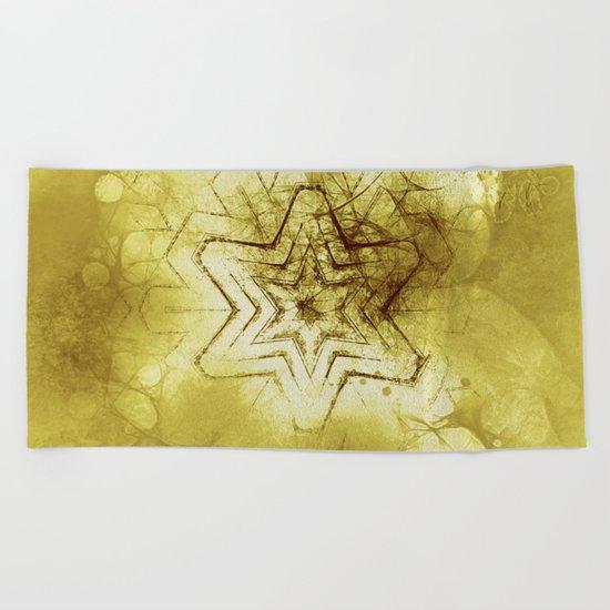Star mandala in gold Beach Towel