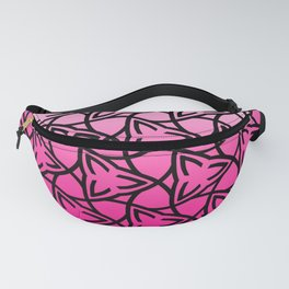 Abstract leaf pattern on a gradient white to pink background  Fanny Pack
