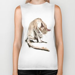 Cat, cat design cat lover, cat sketch Biker Tank