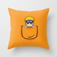naruto Throw Pillows featuring Naruto pocket by Buby87