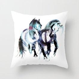Horses (Dos) Throw Pillow