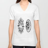 sun and moon V-neck T-shirts featuring Sun & Moon by Cady Bogart