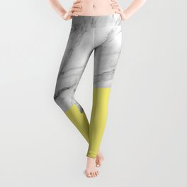Marble and Yellow Color Leggings