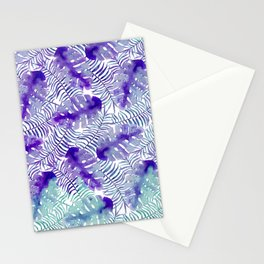 Tropical purple violet teal watercolor monster leaves Stationery Cards