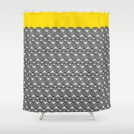 Great Half - black and white block print with sunny yellow accent Shower Curtain