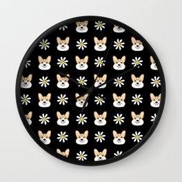 Corgi welsh corgi daisy flowers spring summer florals dog breed pet portrait by pet friendly Wall Clock