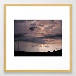 Lightning Strikes - Saskatchewan Highway 48 Framed Art Print