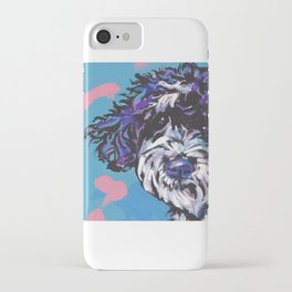 PWD Portuguese Water Dog Fun bright colorful Pop Art Dog Paintingby Lea iPhone Case