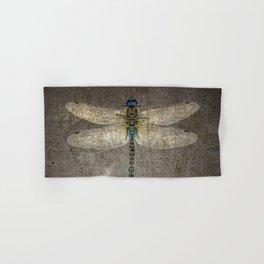 Dragonfly On Distressed Metallic Grey Background Hand & Bath Towel