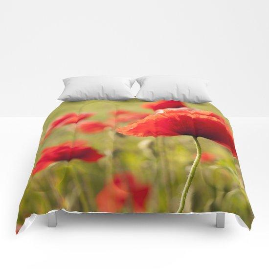 Romantic Poppy field Comforters