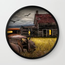 The Death of the Small American Farm with Abandoned Truck and Farm House Wall Clock