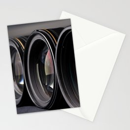 Row of photo lenses Stationery Cards
