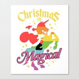 Christmas Is Magical Santa Claus Riding Unicorn Funny Holiday Canvas Print