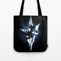 returns Tote Bags featuring Lightning Returns by Six Eyed Monster
