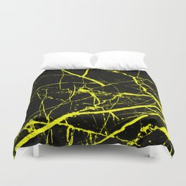 Yellow Marble Pattern - Abstract, black and yellow Duvet Cover