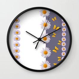 WHITE DAISIES & SPRING BUTTERFLIES & WHITE-GREY ART Wall Clock