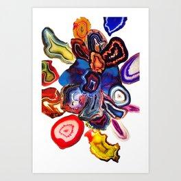 Semi-Precious Agate Burst, Earth's Core Flowers Art Print