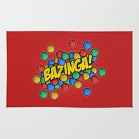bazinga Area & Throw Rugs featuring Bazinga! by Skeleton Jack