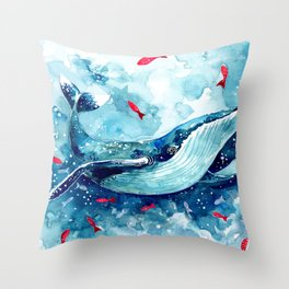 Childrens Blue Watercolor Whale Throw Pillow