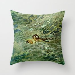 """""""The Mermaid in the Sea"""" by Edmund Dulac Throw Pillow"""
