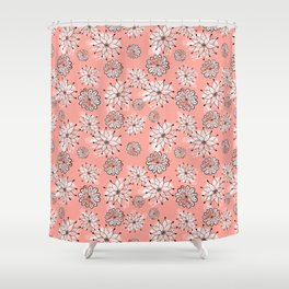 Washed pink floral repeat Shower Curtain