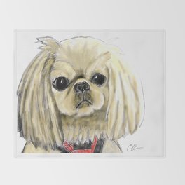 Cartoon dogs Li Li the Pekingese Throw Blanket