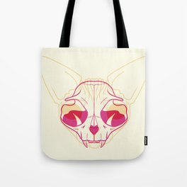 Yellow and Pink Sphynx Cat Skull Overlay - Hairless Kitty Trippy Line Art Tote Bag
