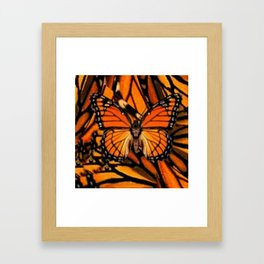 ORANGE MONARCH BUTTERFLY PATTERNED ARTWORK Framed Art Print