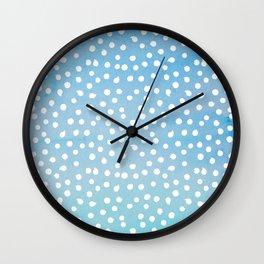 White Dots Polka dots on Aqua Teal Background - Mix & Match Wall Clock