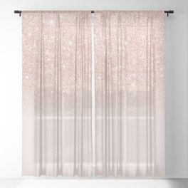 Rose gold faux glitter pink ombre color block Sheer Curtain