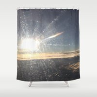 airplane Shower Curtains featuring Airplane Window by Christina Hand