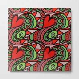 Seamless Love Pattern. Metal Print