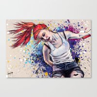 hayley williams Canvas Prints featuring Hayley Williams Energy Explosion by Adora Chloe