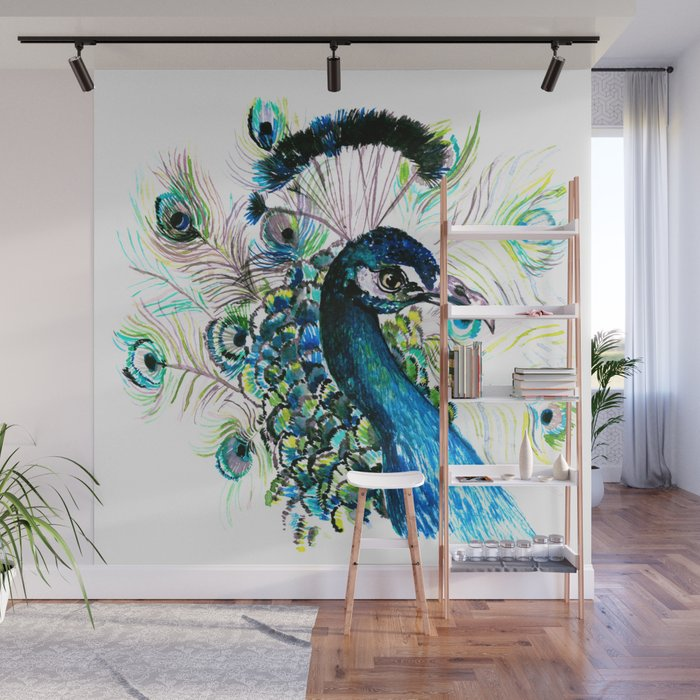 Peacock Wall Mural by dessiwatercolor Society6
