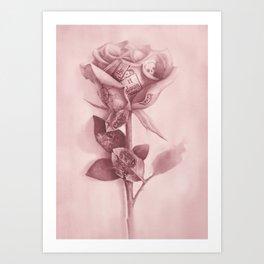 Tattooed Rose Art Print