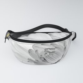 White blossoming chrysanth, black and white flower photography Fanny Pack