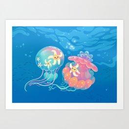 Jellyfish bus Art Print