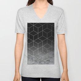 Silver Geometric Cubes Trendy White Grey Marble Unisex V-Neck