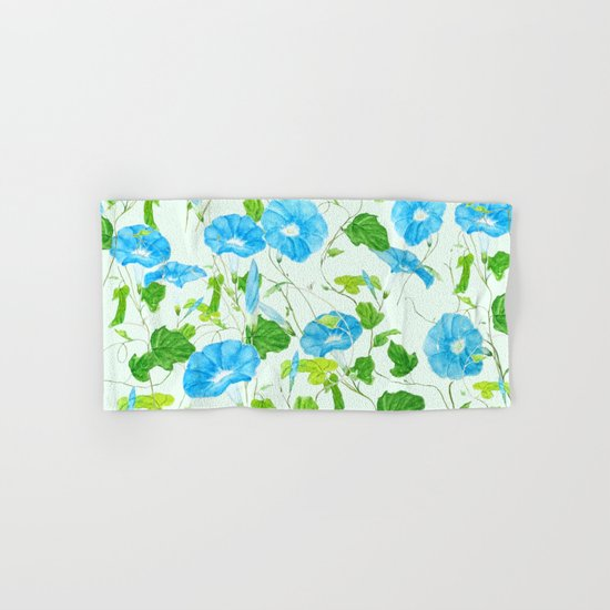 blue morning glory pattern Hand & Bath Towel