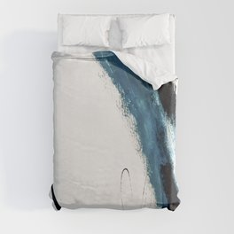 Reykjavik: a pretty and minimal mixed media piece in black, white, and blue Duvet Cover