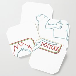 Chef Thumbs Up Hot Food Neon Sign Coaster