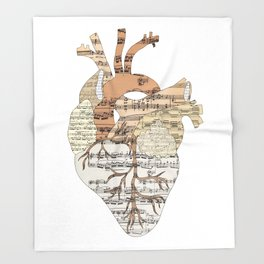 Sound Of My Heart (on white) Throw Blanket
