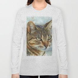 Stunning Tabby Cat Close Up Portrait Long Sleeve T-shirt